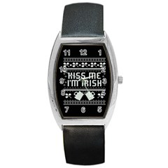 Kiss Me I m Irish Ugly Christmas Black Background Barrel Style Metal Watch
