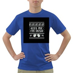 Kiss Me I m Irish Ugly Christmas Black Background Dark T-Shirt