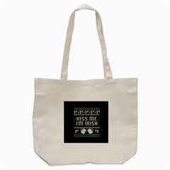Kiss Me I m Irish Ugly Christmas Black Background Tote Bag (Cream)