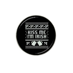 Kiss Me I m Irish Ugly Christmas Black Background Hat Clip Ball Marker (10 pack)