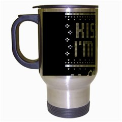 Kiss Me I m Irish Ugly Christmas Black Background Travel Mug (Silver Gray)