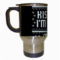Kiss Me I m Irish Ugly Christmas Black Background Travel Mugs (White)