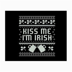 Kiss Me I m Irish Ugly Christmas Black Background Small Glasses Cloth