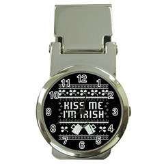 Kiss Me I m Irish Ugly Christmas Black Background Money Clip Watches