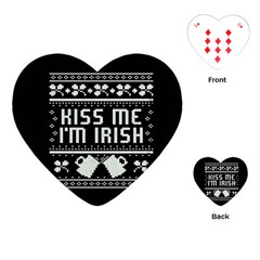 Kiss Me I m Irish Ugly Christmas Black Background Playing Cards (Heart)