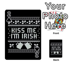 Kiss Me I m Irish Ugly Christmas Black Background Playing Cards 54 Designs