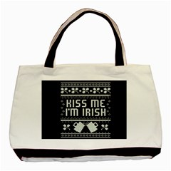Kiss Me I m Irish Ugly Christmas Black Background Basic Tote Bag