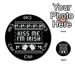 Kiss Me I m Irish Ugly Christmas Black Background Playing Cards 54 (Round)