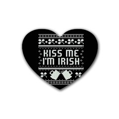 Kiss Me I m Irish Ugly Christmas Black Background Rubber Coaster (Heart)