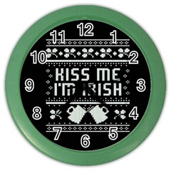 Kiss Me I m Irish Ugly Christmas Black Background Color Wall Clocks