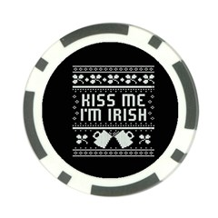 Kiss Me I m Irish Ugly Christmas Black Background Poker Chip Card Guards