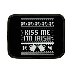 Kiss Me I m Irish Ugly Christmas Black Background Netbook Case (Small)