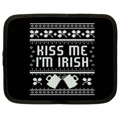 Kiss Me I m Irish Ugly Christmas Black Background Netbook Case (Large)