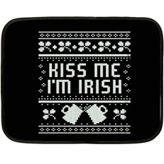 Kiss Me I m Irish Ugly Christmas Black Background Fleece Blanket (Mini)