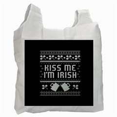 Kiss Me I m Irish Ugly Christmas Black Background Recycle Bag (Two Side)