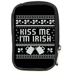 Kiss Me I m Irish Ugly Christmas Black Background Compact Camera Cases