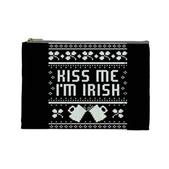 Kiss Me I m Irish Ugly Christmas Black Background Cosmetic Bag (Large)