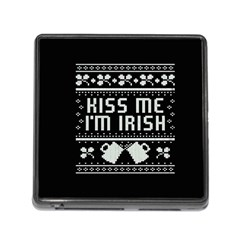 Kiss Me I m Irish Ugly Christmas Black Background Memory Card Reader (Square)