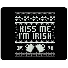 Kiss Me I m Irish Ugly Christmas Black Background Fleece Blanket (Medium)
