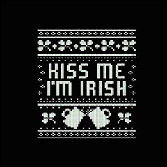Kiss Me I m Irish Ugly Christmas Black Background Magic Photo Cubes