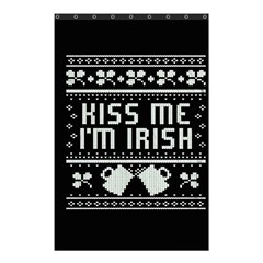 Kiss Me I m Irish Ugly Christmas Black Background Shower Curtain 48  x 72  (Small)