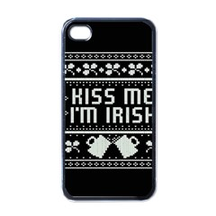 Kiss Me I m Irish Ugly Christmas Black Background Apple iPhone 4 Case (Black)