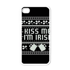 Kiss Me I m Irish Ugly Christmas Black Background Apple iPhone 4 Case (White)
