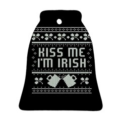 Kiss Me I m Irish Ugly Christmas Black Background Ornament (Bell)