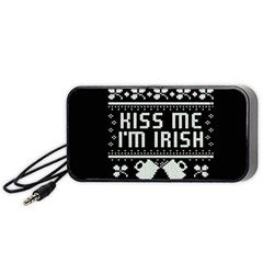 Kiss Me I m Irish Ugly Christmas Black Background Portable Speaker (Black)