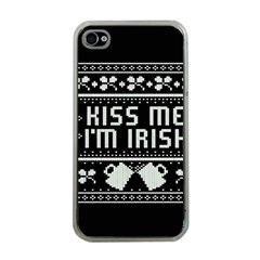 Kiss Me I m Irish Ugly Christmas Black Background Apple iPhone 4 Case (Clear)