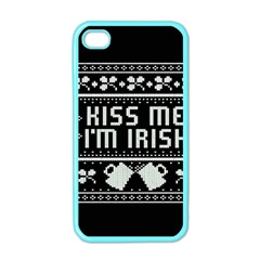 Kiss Me I m Irish Ugly Christmas Black Background Apple iPhone 4 Case (Color)
