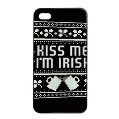 Kiss Me I m Irish Ugly Christmas Black Background Apple iPhone 4/4s Seamless Case (Black)