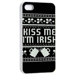 Kiss Me I m Irish Ugly Christmas Black Background Apple iPhone 4/4s Seamless Case (White)