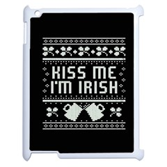 Kiss Me I m Irish Ugly Christmas Black Background Apple iPad 2 Case (White)