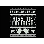 Kiss Me I m Irish Ugly Christmas Black Background Get Well 3D Greeting Card (7x5) Front