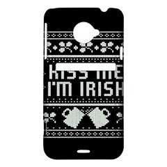 Kiss Me I m Irish Ugly Christmas Black Background HTC Evo 4G LTE Hardshell Case