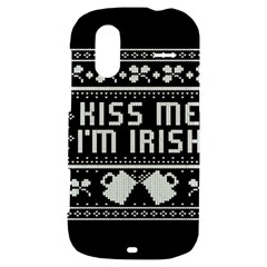 Kiss Me I m Irish Ugly Christmas Black Background HTC Amaze 4G Hardshell Case