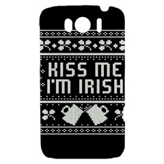 Kiss Me I m Irish Ugly Christmas Black Background HTC Sensation XL Hardshell Case