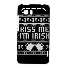 Kiss Me I m Irish Ugly Christmas Black Background HTC Vivid / Raider 4G Hardshell Case