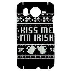Kiss Me I m Irish Ugly Christmas Black Background HTC Desire HD Hardshell Case