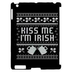 Kiss Me I m Irish Ugly Christmas Black Background Apple iPad 2 Hardshell Case (Compatible with Smart Cover)