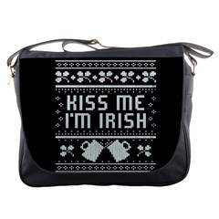 Kiss Me I m Irish Ugly Christmas Black Background Messenger Bags