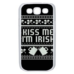 Kiss Me I m Irish Ugly Christmas Black Background Samsung Galaxy S III Case (White)