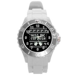 Kiss Me I m Irish Ugly Christmas Black Background Round Plastic Sport Watch (L)
