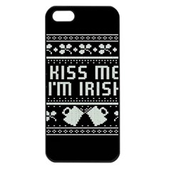 Kiss Me I m Irish Ugly Christmas Black Background Apple iPhone 5 Seamless Case (Black)