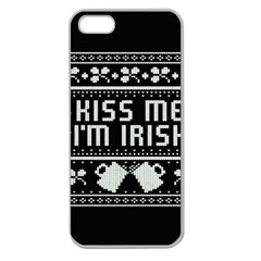 Kiss Me I m Irish Ugly Christmas Black Background Apple Seamless iPhone 5 Case (Clear)