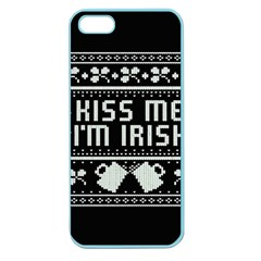 Kiss Me I m Irish Ugly Christmas Black Background Apple Seamless iPhone 5 Case (Color)