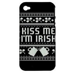 Kiss Me I m Irish Ugly Christmas Black Background Apple iPhone 4/4S Hardshell Case (PC+Silicone)
