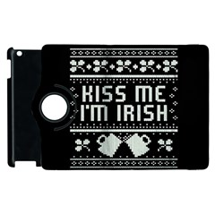 Kiss Me I m Irish Ugly Christmas Black Background Apple iPad 3/4 Flip 360 Case