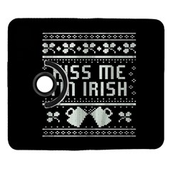 Kiss Me I m Irish Ugly Christmas Black Background Samsung Galaxy Note II Flip 360 Case